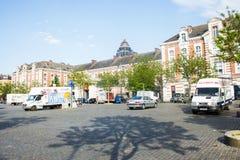 最后一球正方形(Place du Jeu de Balle),布鲁塞尔,比利时 免版税库存照片