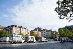 最后一球正方形(Place du Jeu de Balle),布鲁塞尔,比利时 库存照片