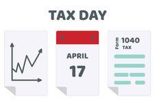 最后期限的传染媒介例证联邦所得税的在美国返回, 1040形式 联邦税务局 库存照片