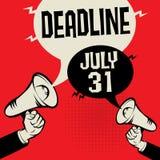 最后期限- 7月31日 库存例证