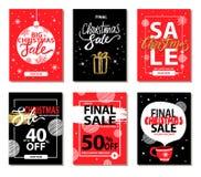 最后的圣诞节销售红色黑传染媒介例证 免版税库存照片