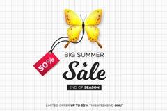 最后的夏天销售 与销售标记的黄色蝴蝶在笔记本板料 现代概念性传染媒介例证 免版税库存照片