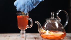 最后的接触概念 侍酒者在玻璃投入迷迭香叶子用果子茶 慢的行动 HD 股票视频
