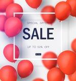 最后的销售,与红色气球的特价优待 商店和销售横幅的现实传染媒介设计 也corel凹道例证向量 向量例证