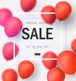 最后的销售,与红色气球的特价优待 商店和销售横幅的现实传染媒介设计 也corel凹道例证向量 皇族释放例证