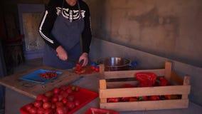 最基本的服装和围裙裁减红色蕃茄的年轻女性厨师做的西红柿酱 股票录像