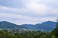最大的村庄在喀尔巴阡山脉 图库摄影