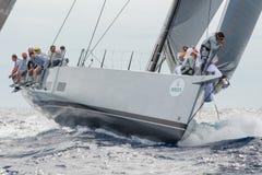 最大的游艇劳力士杯2015帆船种族在波尔图Cervo,意大利 库存图片
