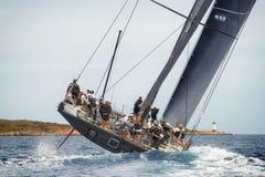 最大的游艇劳力士杯2015帆船种族在波尔图Cervo,意大利 免版税库存照片