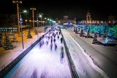 最大的滑冰的中心在俄罗斯 冬天夜,下雪 库存照片