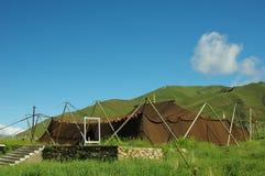 最大的牦牛头发帐篷寺庙 库存照片