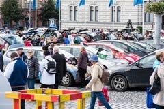 最大的跳蚤市场在坦佩雷,芬兰,发生了2017年9月17日 免版税库存照片