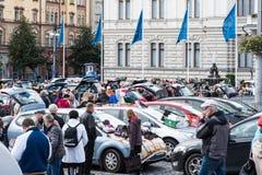 最大的跳蚤市场在坦佩雷,芬兰,发生了2017年9月17日 免版税库存图片