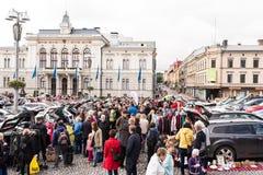 最大的跳蚤市场在坦佩雷,芬兰,发生了2017年9月17日 库存图片