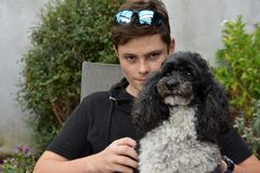 最好的朋友、十几岁的男孩和他的丑角长卷毛狗 免版税库存图片