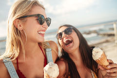 最好的朋友一起户外与冰淇凌 免版税库存照片