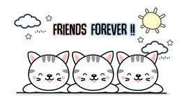 最好的朋友永远猫动画片 库存例证
