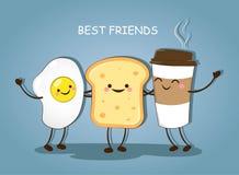最好的朋友 早餐早晨好 咖啡的逗人喜爱的图片,鸡蛋和多士导航例证 免版税图库摄影