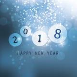 最好祝愿-蓝色抽象现代样式新年快乐贺卡、盖子或者背景,创造性的设计模板- 2018年 免版税库存图片
