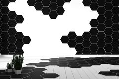 最小六角形瓦片颜色黑白的硬木地板- 3d?? 库存例证