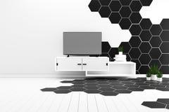 最小六角形瓦片颜色黑白的硬木地板- 3d?? 皇族释放例证