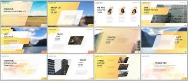 最小的介绍设计,股份单传染媒介模板有五颜六色的梯度几何背景 黄色设计 皇族释放例证