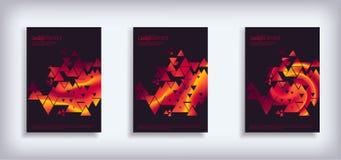最小的传染媒介盖子设计设置了与抽象三角 免版税库存照片