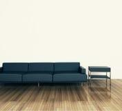最小的现代内部长沙发和表 库存照片