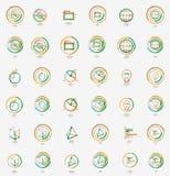最小的稀薄的线设计网象集合,邮票 免版税库存图片
