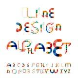 最小的线设计字母表,字体,字体 库存图片