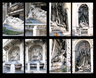 广场delle Quattro Fontane,罗马喷泉  免版税图库摄影