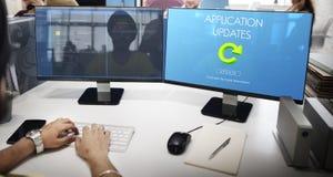 最新的版本新更新应用更新概念 免版税图库摄影