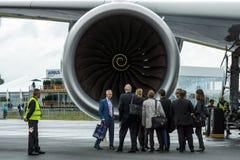 最新的飞机空中客车A350 XWB的涡轮风扇引擎 免版税库存照片