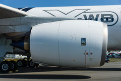 最新的飞机空中客车A350-900 XWB的涡轮风扇引擎 库存照片