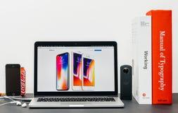 最新的iPhone x 10与正iphone 8, 库存图片