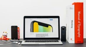 最新的iPhone x 10与 免版税库存照片