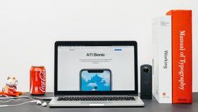 最新的iPhone x 10与a11利用仿生学的芯片 图库摄影
