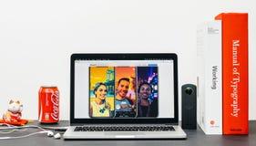 最新的iPhone x 10与beuatiful照片 免版税库存图片