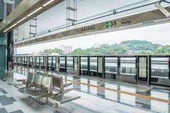 最新的MRT大量高速运输kajang平台 MRT是在巴生谷的最新的公共交通系统从Sungai Buloh 库存图片