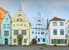 最旧的中世纪大厦在老里加市,拉脱维亚 图库摄影