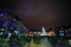 最旧的圣诞节市场在欧洲-史特拉斯堡,阿尔萨斯, Fran 库存照片