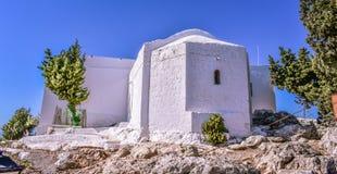 最旧的教会在海岛 Tsampika是罗得岛保护者,并且许多孩子采取她的名字作为传统 免版税图库摄影