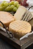 最旧的法国人AOC软绵绵地pudgent黄色乳酪利瓦罗品尝, 免版税图库摄影
