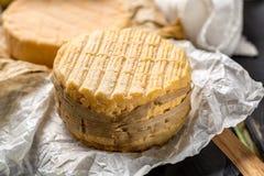 最旧的法国人AOC软绵绵地pudgent黄色乳酪利瓦罗品尝  免版税图库摄影