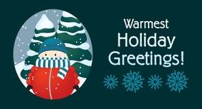 最温暖的假日问候-雪的冷的小男孩 免版税库存照片