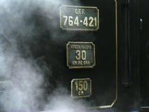 最知名的mocanita蒸汽火车在Vaser谷运行在罗马尼亚的北部的Maramures县 免版税库存照片