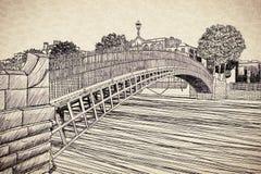 最著名的桥梁在都伯林告诉了Half便士桥梁由于对段落收费的通行费-无权剪影概念图象 库存例证