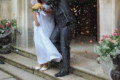 最近婚姻庆祝细节  免版税库存照片