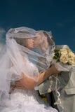 最近结婚的夫妇愉快 图库摄影