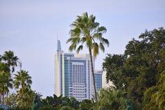 最高的旅馆的顶视图在国际推进地区 库存图片